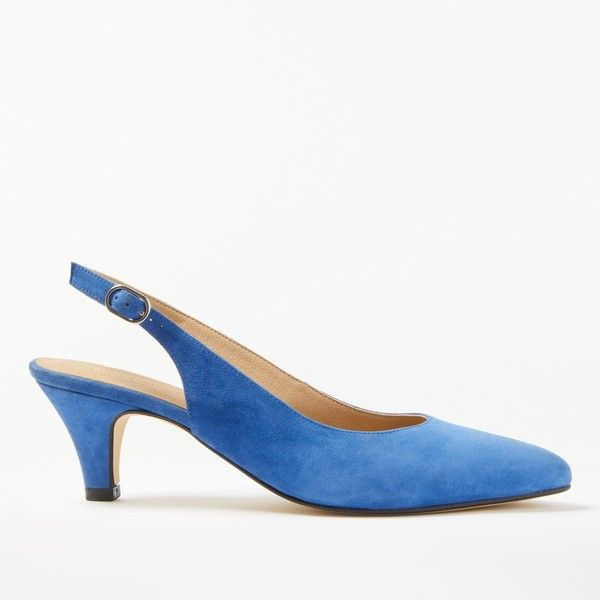 John Lewis Grace Kitten Heel Court Shoes ($96) ❤ liked on Polyvore featuring shoes, pumps, blue suede, flat slingbacks, slingback shoes, pointed flat shoes, leather flat shoes and sling back pumps