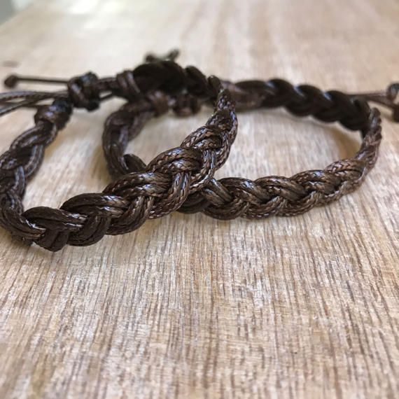 Matching bracelets. The Hers bracelet closes to around 6.5 and the His bracelet closes to around 7.5. Both bracelets are adjustable. These lovely couple bracelets are made of brown waxed cord. Includes Gift Box + 2 Bracelets Please feel free to contact me if you have any questions These