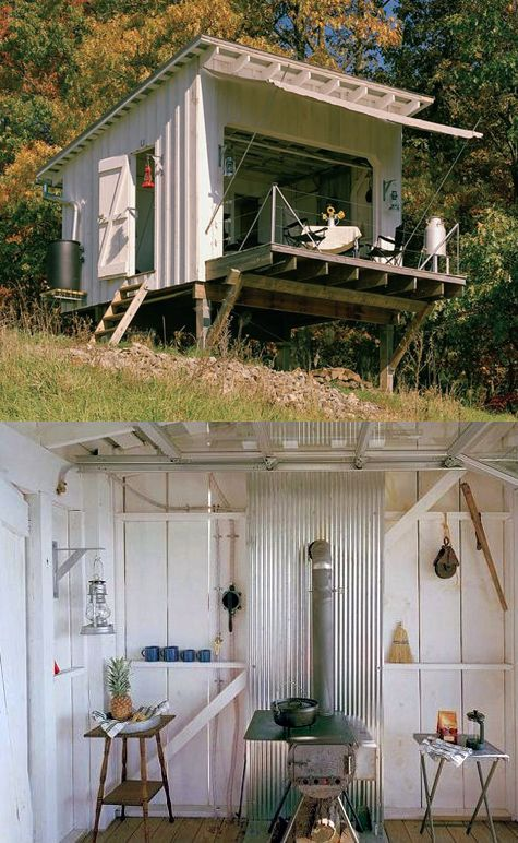 The Shack at Hinkle Farm, West Virginia, by Broadhurst Architects. It has all kinds of simple but effective off-grid systems- oil lamps, wood stove, and gravity fed water system using a bilge pump to move water to a tank on the roof.