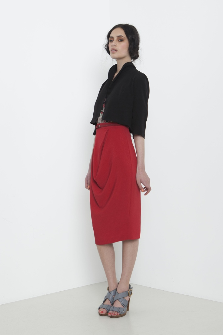 Petite Jacket - black    Rosaline Skirt - poppy