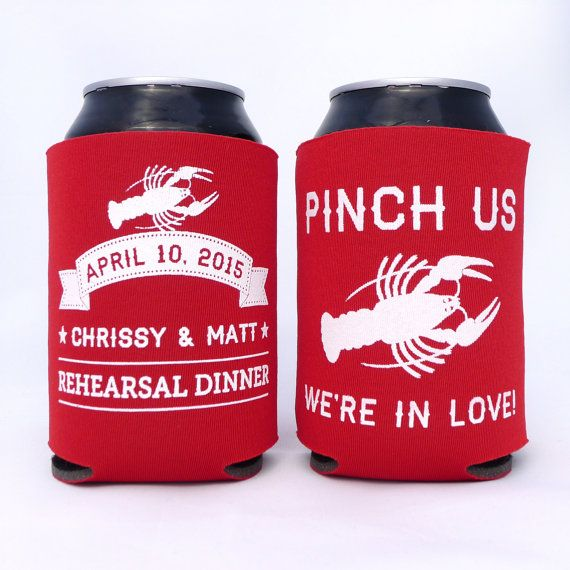 Rehearsal Dinner Lobster Bake Crawfish Boil // Pinch Me, They're In Love // Engagement Party Can Coolers // Couples Shower Party Favors