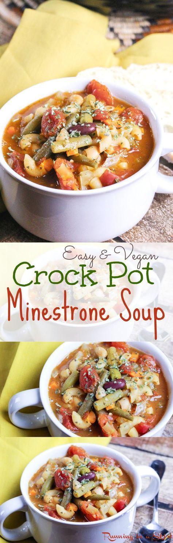 Easy & Vegetarian Crock Pot Minestrone Soup recipe! Healthy, vegetable…