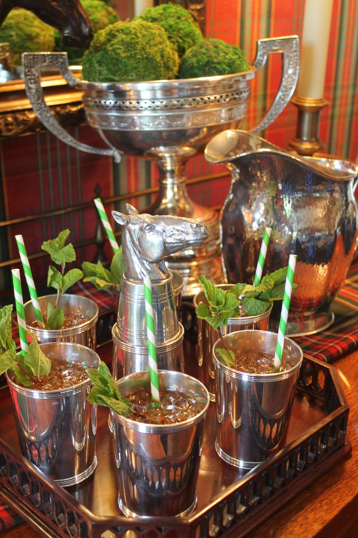 Mint juleps and silver.  Kentucky Derby just around the corner!!!!