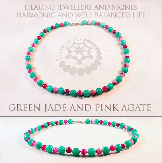 Pink Agate and Green Jade Gemstone Necklace Jade by SunstoneCraft