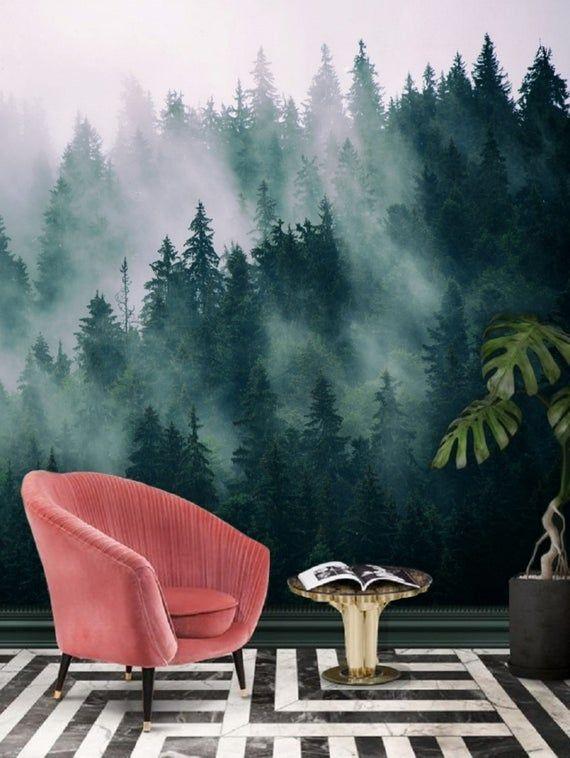 Green Forest Wallpaper Mural Removable Peel And Stick Etsy Forest Wallpaper Mural Wallpaper Wall Wallpaper