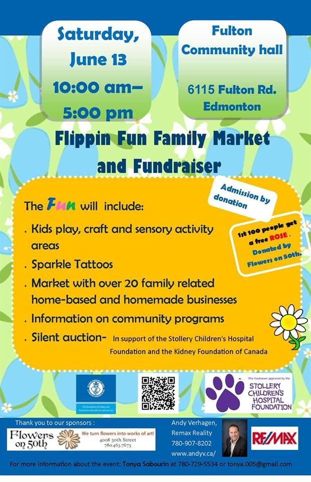 Hump Day Happenings!  Flippin Fun Family Market And Fundraiser: Saturday, June 13, 10am-5pm Fulton Community Hall  Kids play, craft and sensory activity areas Sparkle Tattoos Market With over 20 family related home-based and homemade businesses Information on community programs Silent auction