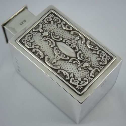 Splendid-Solid-Sterling-Silver-TEA-CADDY-BOX-BIRMINGHAM-1900-WILLIAM-HUTTON