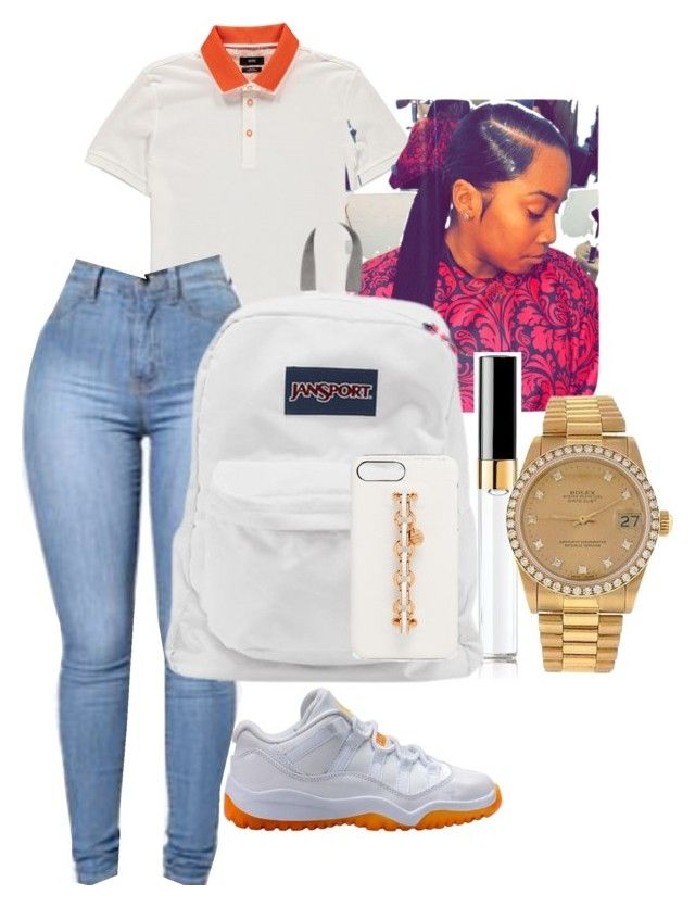 """Jordan Outfit"" by benginafantaisie ❤ liked on Polyvore featuring NIKE, BOSS Orange, Chanel, JanSport, Rolex, Henri Bendel, nike, jansport, jordan and JORDAN11"