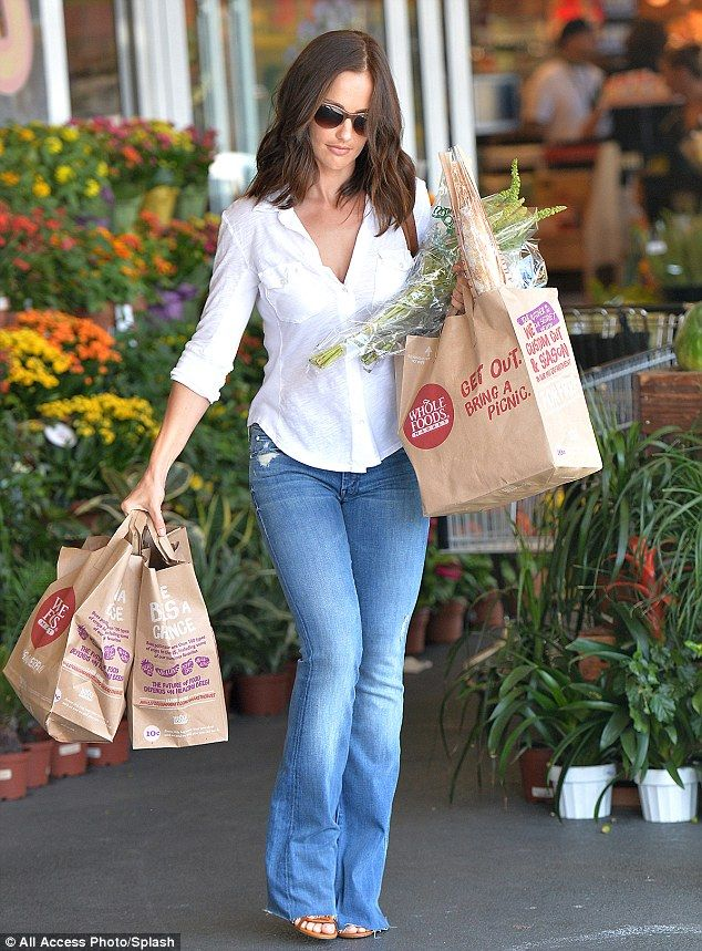 No bell bottom blues here: Minka Kelly looked fabulous in form-fitting jeans in Los Angele...