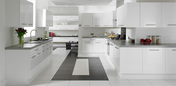White and grey kitchen.