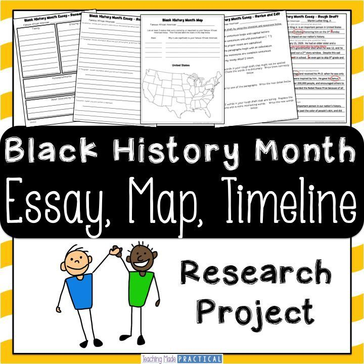 Black History Month Research Project - students research a famous African American and create an essay, map, and timeline based on their research.  Scaffolded to support students.  $