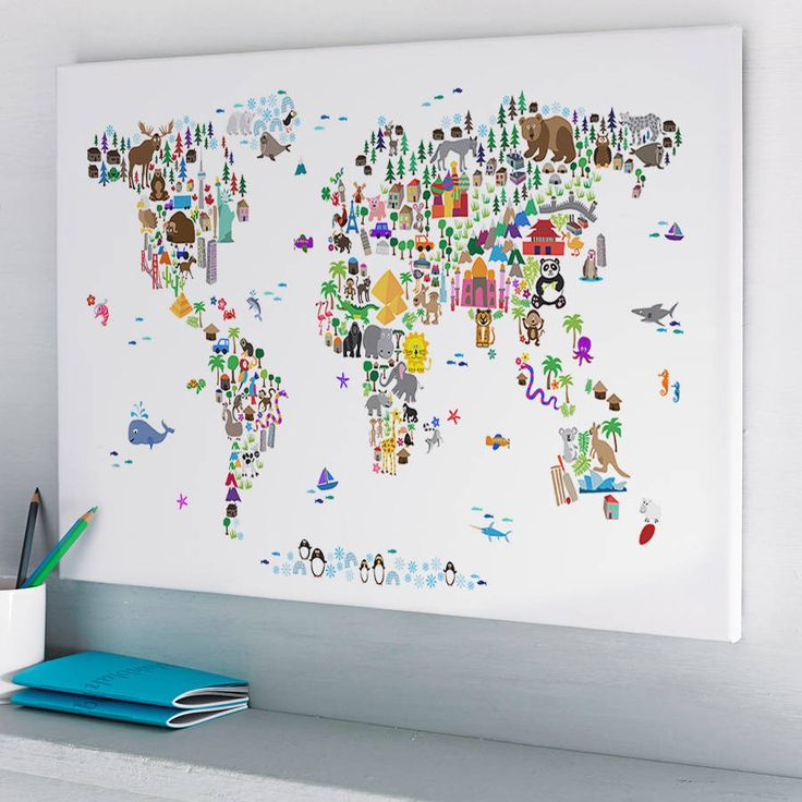 A map of the world created from colourful animals, landmarks and other curiosities on a plain white, ivory/cream, blue or pink background.This artwork is available as an unframed satin poster print, an unframed luxury fine art print or stunning ready-to-hang canvas. There is a choice of four background colours - plain white, ivory/cream, blue or pink background. ---This latest edition of the Animal World Map features over 20 new animals and landmarks. Both the fine art print version...