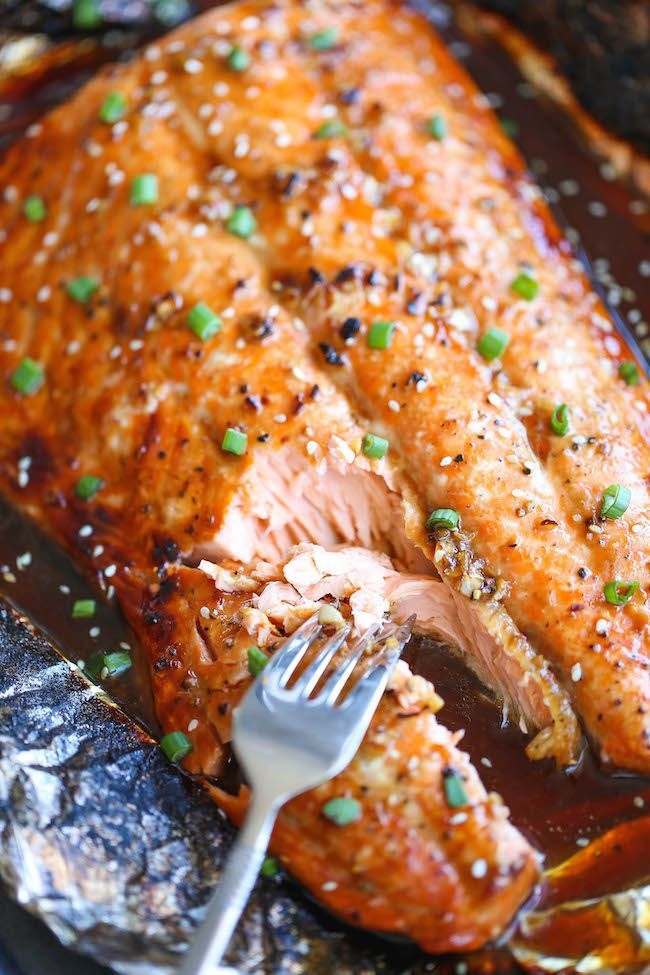 Asian Salmon in Foil - The best and easiest way to make salmon in foil - and you won't believe how much flavor is packed right in! from @damndelicious