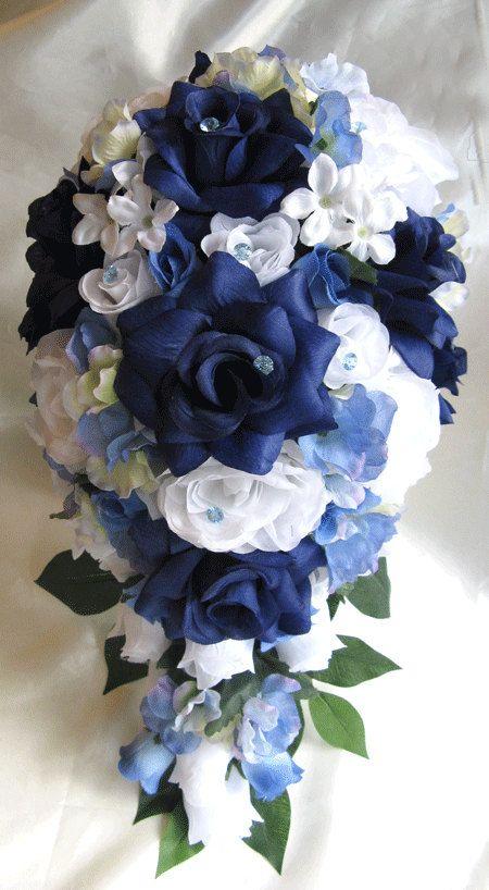Wedding Bouquet Bridal Decoration Silk Flower Navy Blue White Periwinkle Cascade 17 Pcs Arrangements Package
