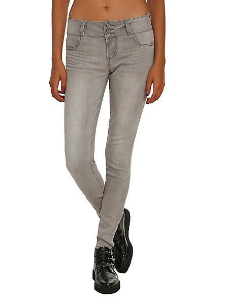 LOVEsick Grey Wash 3-Button Super Skinny Jeggings | Hot Topic