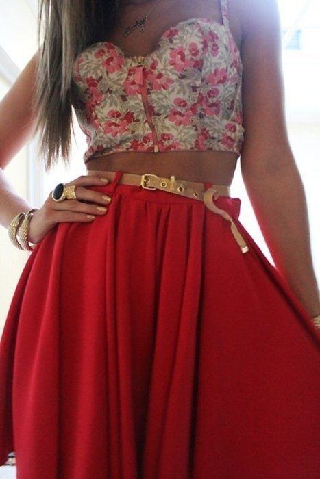 crop top & high waist skirts.