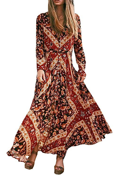 1912457a95b R.Vivimos Women Long Sleeve Vintage Beach Boho Button Up Maxi Long Dresses.  Get a designer look