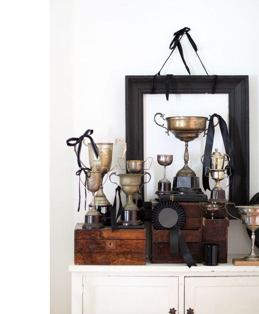 vignette of vintage trophies
