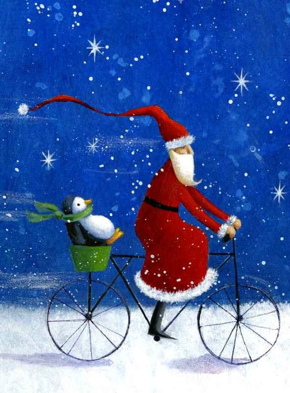 Santa and a penguin on a bicycle art Christmas illustration - Joulupukki