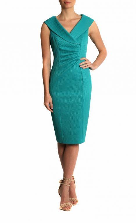 Occasion Wear   Water Green Stretch Jacquard Dress