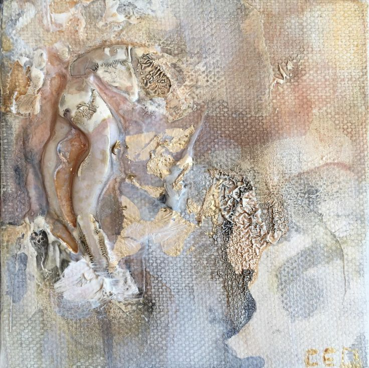 This is the first piece in a series of two. This piece is rich in texture and was inspired by the sea. Reminiscent of an oyster with soft, pearlescent colors and gold leaf accent this is a perfect piece to add a bit of spice to your desk or office space. Related