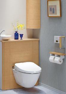 レストパル 住宅用システムトイレ TOTO トイレが浮いていて掃除がしやすいところが未来的だと思いました