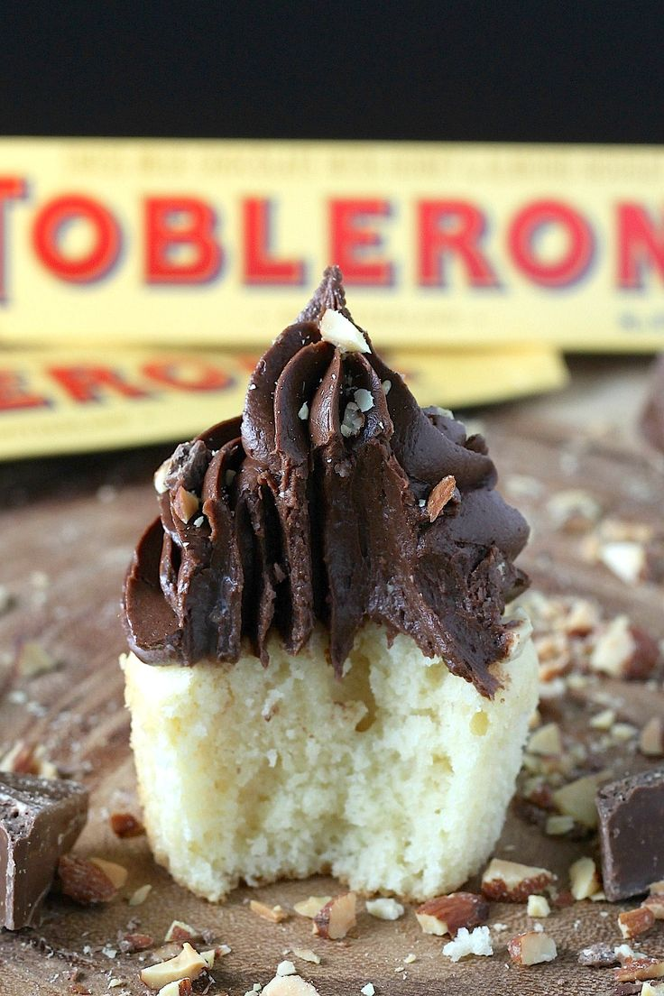 Toblerone Milk Chocolate and Almond Cupcakes