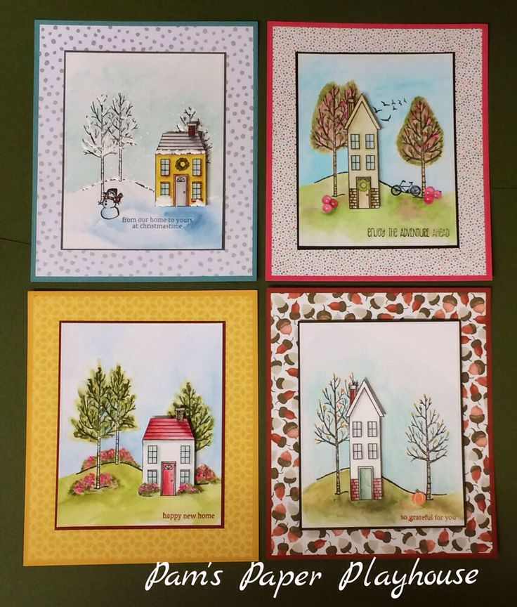 Four seasons card set...StampinUp Holiday Homes. Designed by Pam Stoner of Pam's Paper Playhouse.