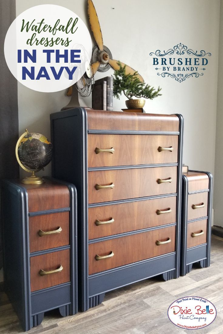 How Gorgeous This Waterfall Dresser Set Was Painted With In The Navy Shop Dixie Belle Paint Toda Blue Painted Furniture Waterfall Dresser Waterfall Furniture