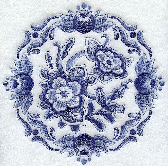 Delft floral medallion machine embroidery quilt blocks