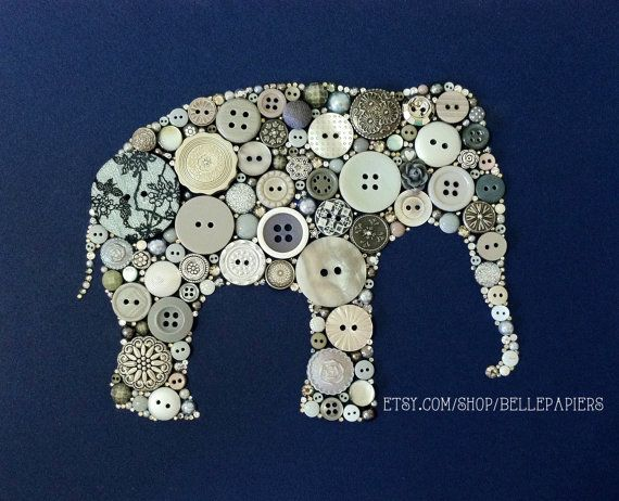 8x10 Elephant Button Art & Swarovski Art Elephant Silhouette Baby Shower Gift Nursery Decor on Etsy, $134.00