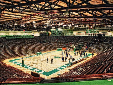 New Castle Fieldhouse in New Castle, Indiana is the home of the Castle Chrysler High School basketball teams, and with a seating capacity of 9,325, it is the largest high school basketball gym in the world.