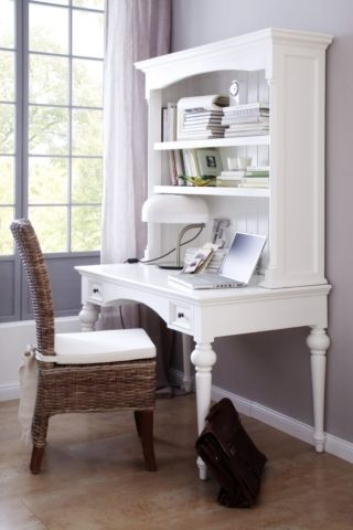 This is our take on an 18th-century French escritoire, or secretary desk. The design is absolutely full of classical detailing from the tongue and groove back panel to the Victorian mouldings and iconic trumpet legs. With shelves above and two petite drawers, there's ample storage to keep the surface free from clutter and is pretty enough to be used as a bedroom writing desk.
