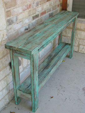 Aqua Distressed Sofa Table   Farmhouse   Console Tables   Rustic Exquisite  Designs  Perfect Plant Table For The Back Patio !