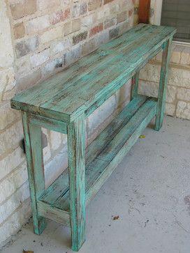 Aqua Distressed Sofa Table - farmhouse - Console Tables - Rustic ...
