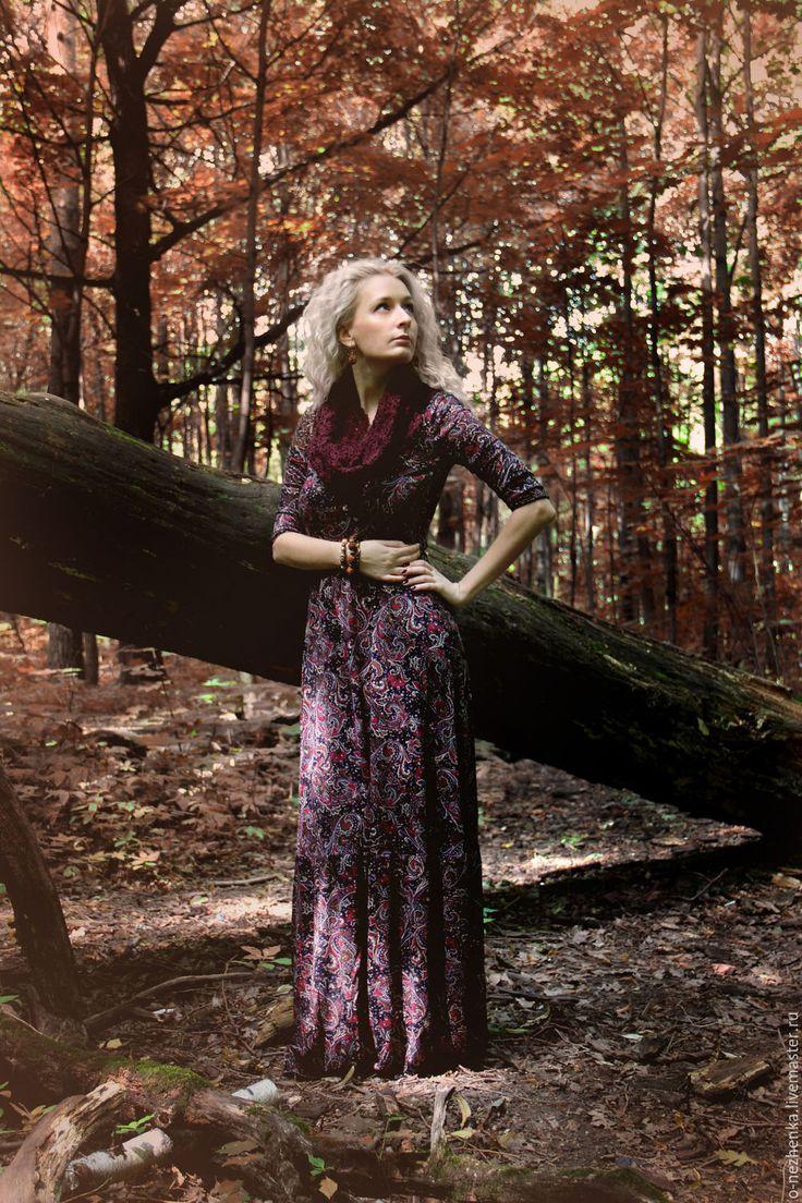 """Купить Трикотажное платье """"1001 ночь"""" - черный, пейсли, платье, Платье нарядное…"""