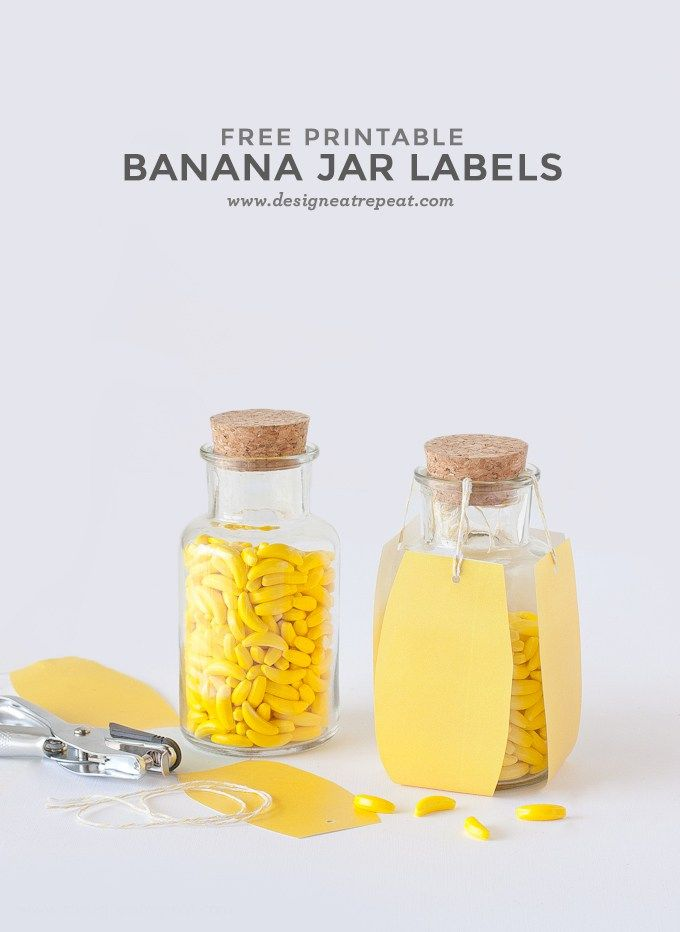 デザインによるバナナの印刷可能なキャンディージャーラベル