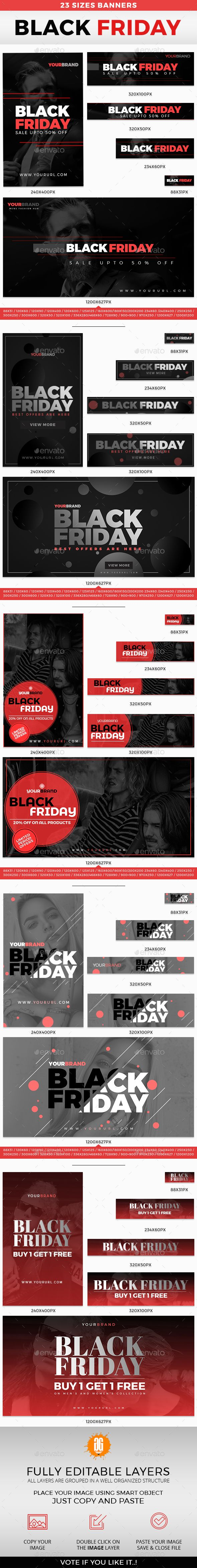 115 BLACK FRIDAY BANNERS - #Banners & Ads #Web Elements