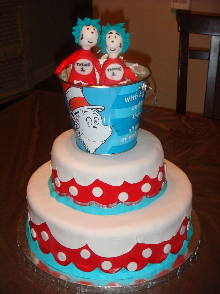 Thing 1 Thing 2 Cake Twins First Birthday Cake Twins