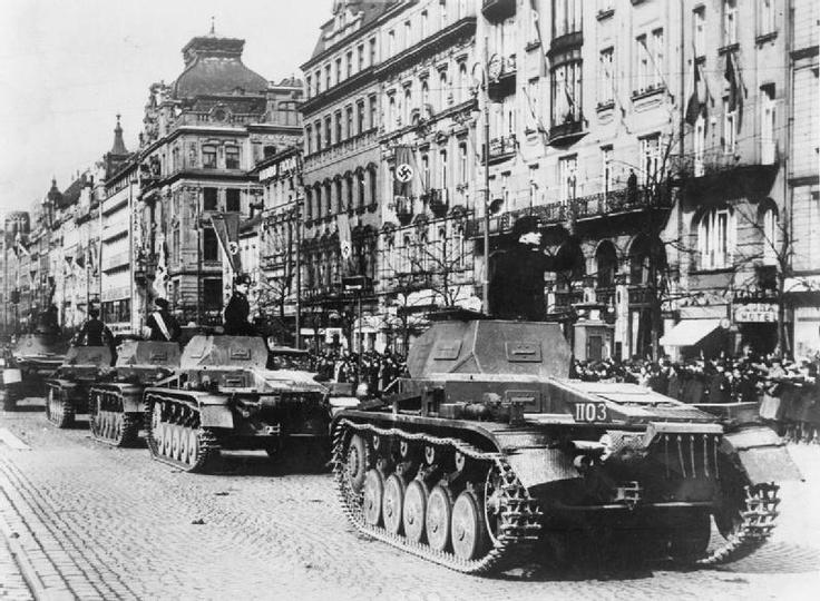 German tanks (P.IIs) in Wenceslas Square in Prague.