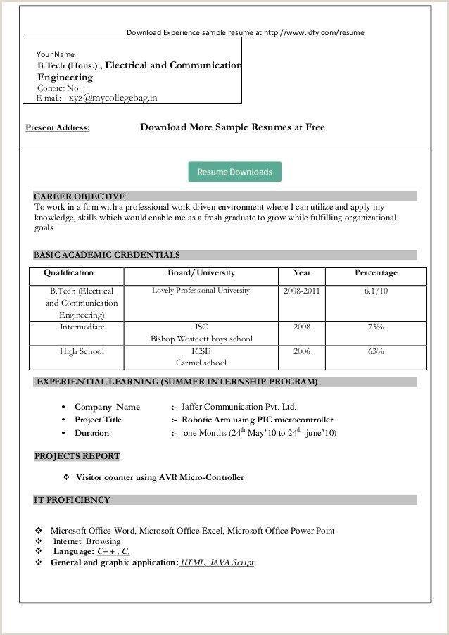 Fresher Resume Format For Bca Fresher Resume Format For Bca