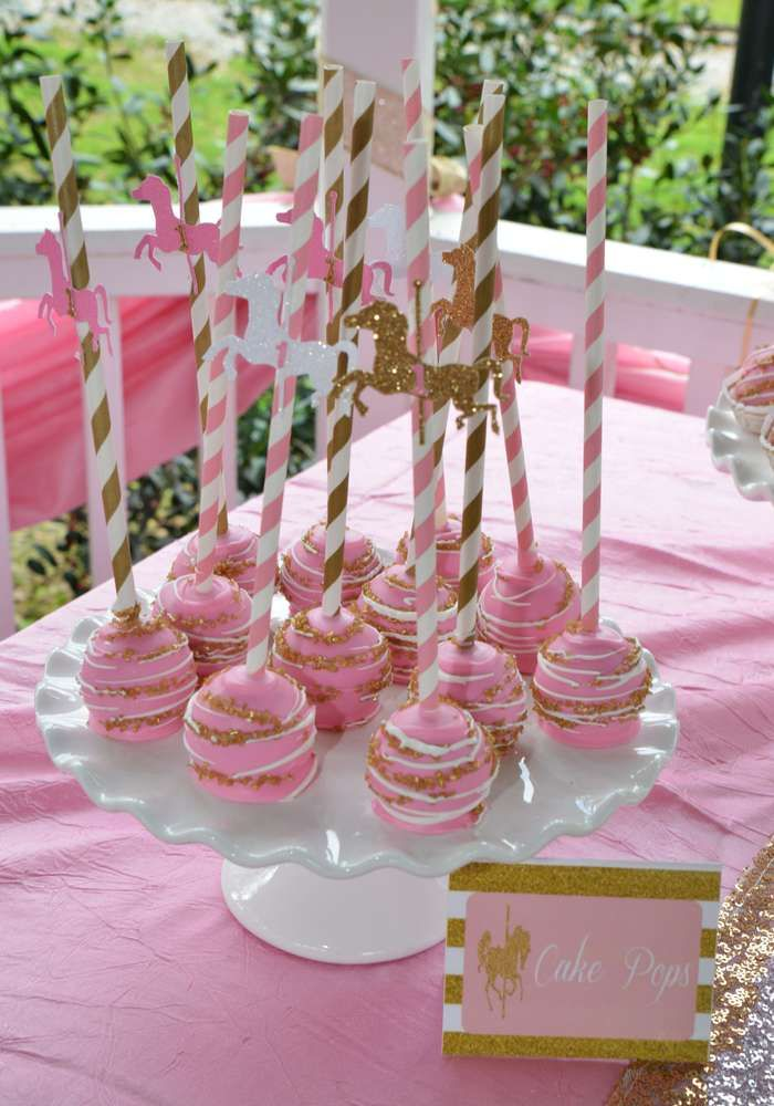 Sparkly cake pops at a carousel birthday party! See more party ideas at CatchMyParty.com!