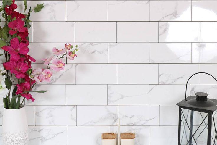 Porselen vegg fliser med carrara look