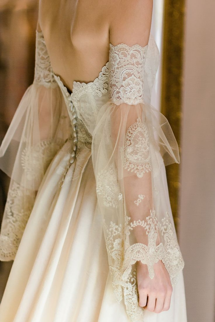 Claire Pettibone Marie strapless wedding dress with lace embroidered bodice, sil…