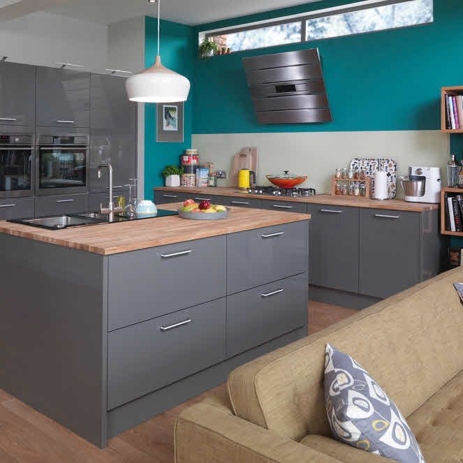 High Gloss Gray Kitchen Cabinets: Grey Kitchen Cupboards, Kitchen Cabinets