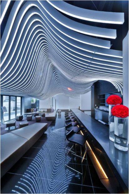 W New York Downtown Hotel and Residences designed by Gwathmey Siegel & Associates, interior design by Graft :: bar