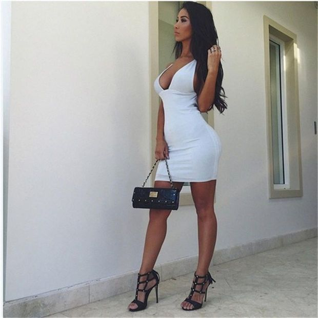 New Sexy Deep V-neck  Low Cut Halter Mini Tights Slim Package Hip Dress Nightclub