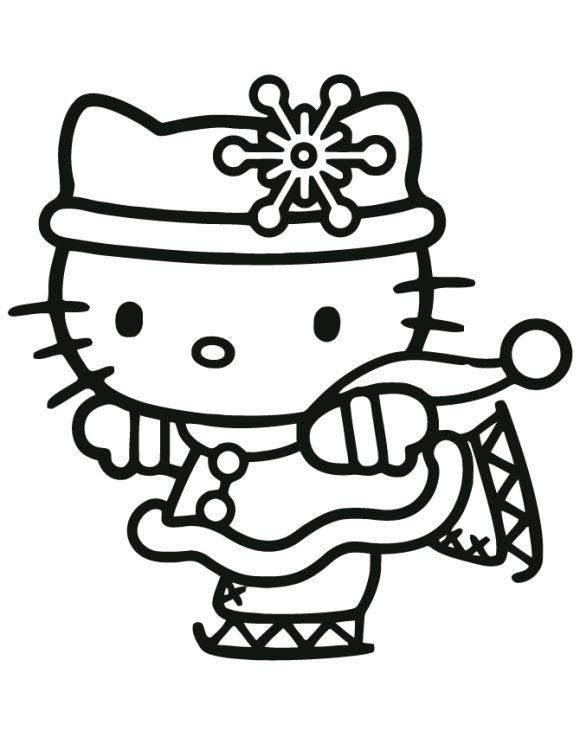 Hello Kitty Christmas Ice Skating Coloring Page