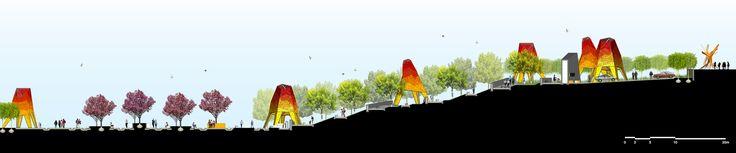 Arquitetura e Paisagem: Pavilhões de metal perfurado se elevam no parque, por Martha Schwartz