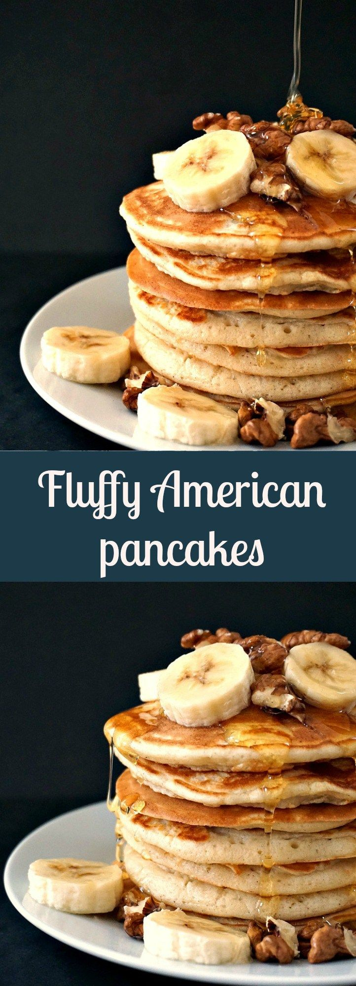 Fluffy American Pancakes with bananas, walnuts and a good squeeze of honey, an amazing breakfast recipe to start your day in style.